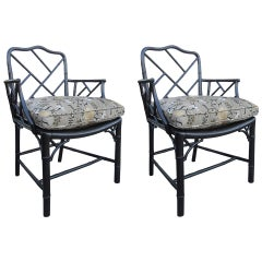 Pair of 19th Century Regency Style Ebonized Bamboo Arm Chairs, Cane Seats