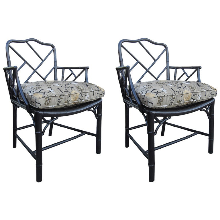 Pair of 19th Century Regency Style Ebonized Bamboo Arm Chairs, Cane Seats For Sale