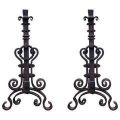 Pair of Renaissance Revival Wrought Iron Andirons