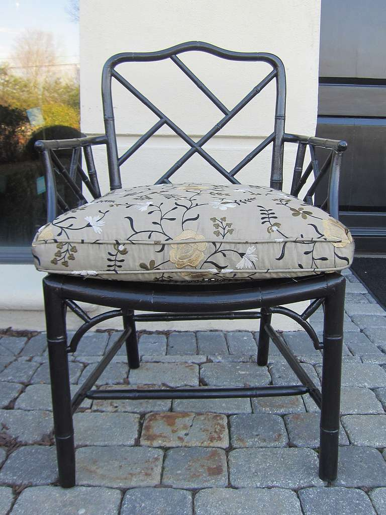 Pair of 19th Century Regency Style Ebonized Bamboo Arm Chairs, Cane Seats In Good Condition For Sale In Atlanta, GA