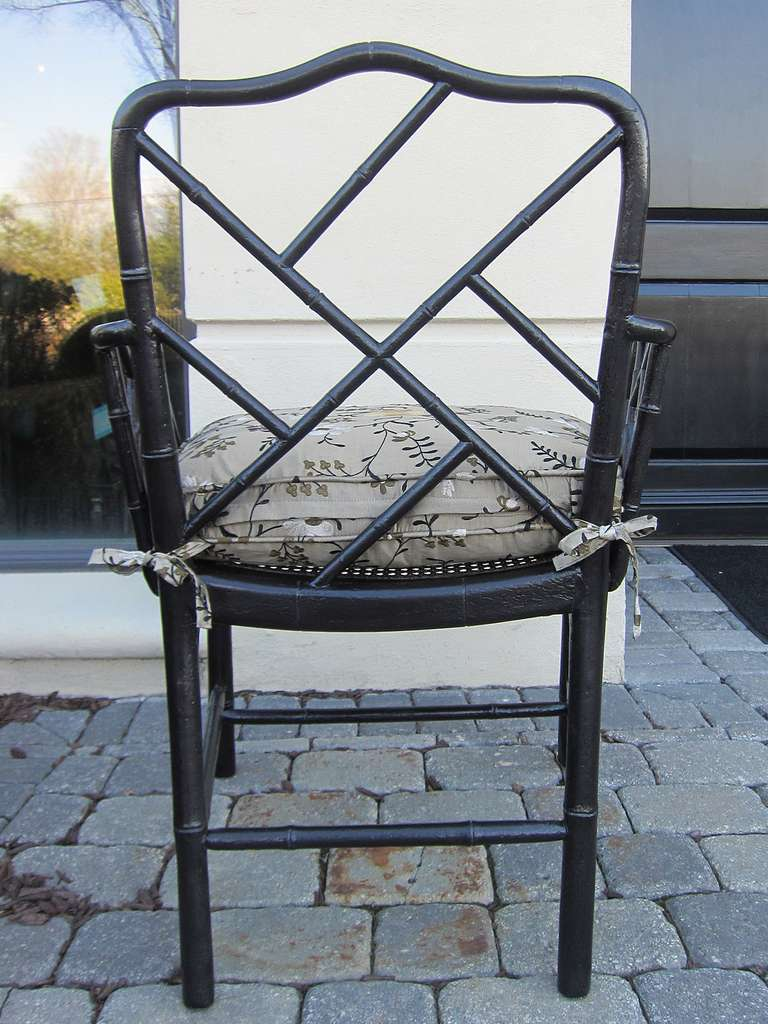 Pair of 19th Century Regency Style Ebonized Bamboo Arm Chairs, Cane Seats For Sale 1