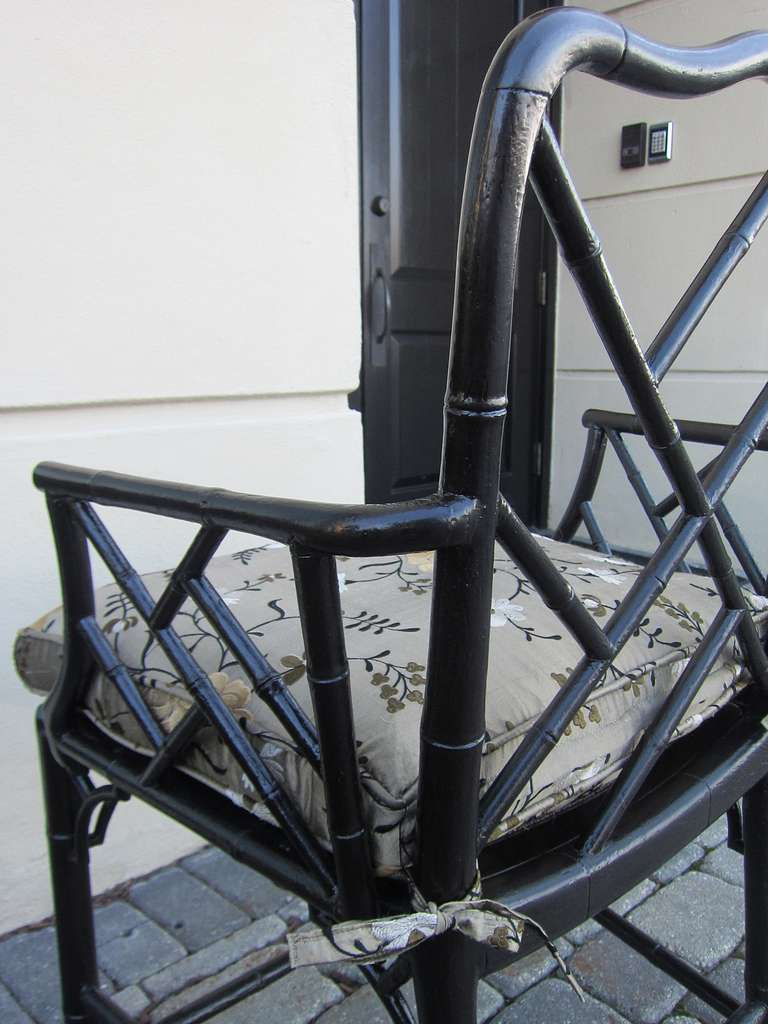 Pair of 19th Century Regency Style Ebonized Bamboo Arm Chairs, Cane Seats For Sale 2