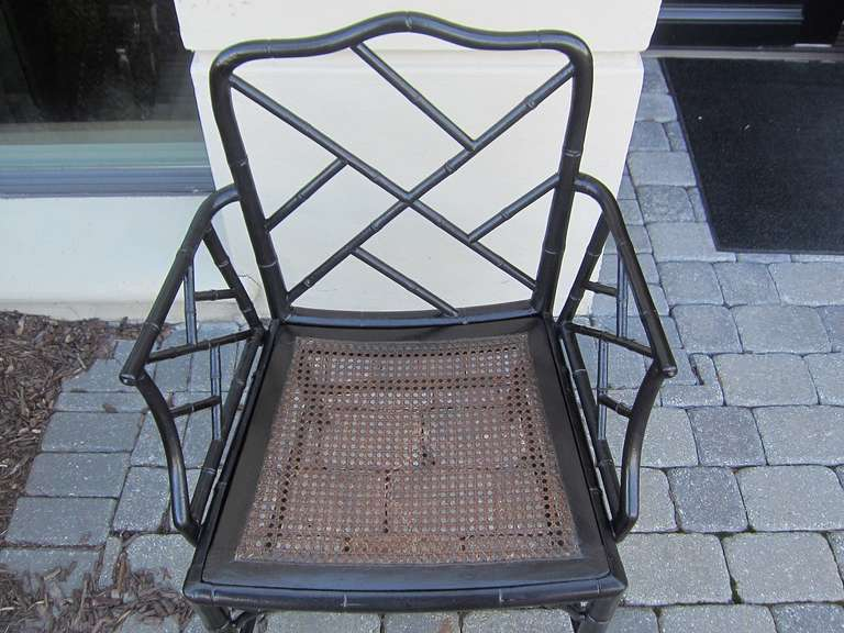 Pair of 19th Century Regency Style Ebonized Bamboo Arm Chairs, Cane Seats For Sale 3