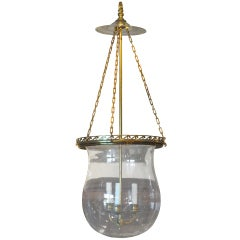 20thc Large Bell Jar Lantern With Three Candle Cluster