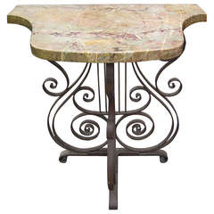 19th Century French Antique Marble Top Iron Console