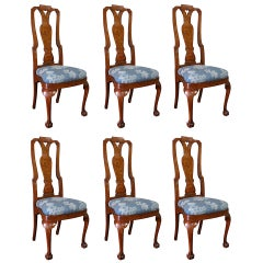 Late 19th-Early 20th Century Set of Six Continental Fruitwood Inlaid Side Chairs