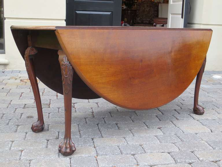 18th-19th Century George II Mahogany Cabriole Drop-Leaf Table In Good Condition For Sale In Atlanta, GA