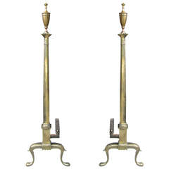 Elegant Pair of Georgian Style Tall Andirons with Urn, circa 1900