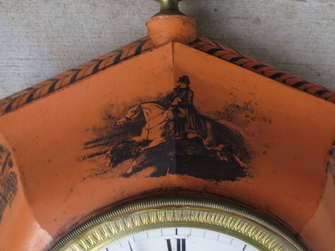 19th century French painted tole clock by Paul Garnier.