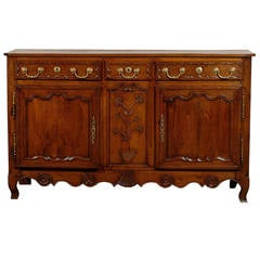 19th Century Louis XV Style French Buffet with Two Doors and Three Drawers