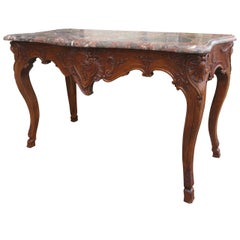 18th / 19th Century Regence Style Carved Walnut Marble Top Console