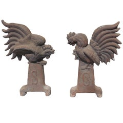 Pair of 19th-20th Century South Carolina Gamecock Andirons