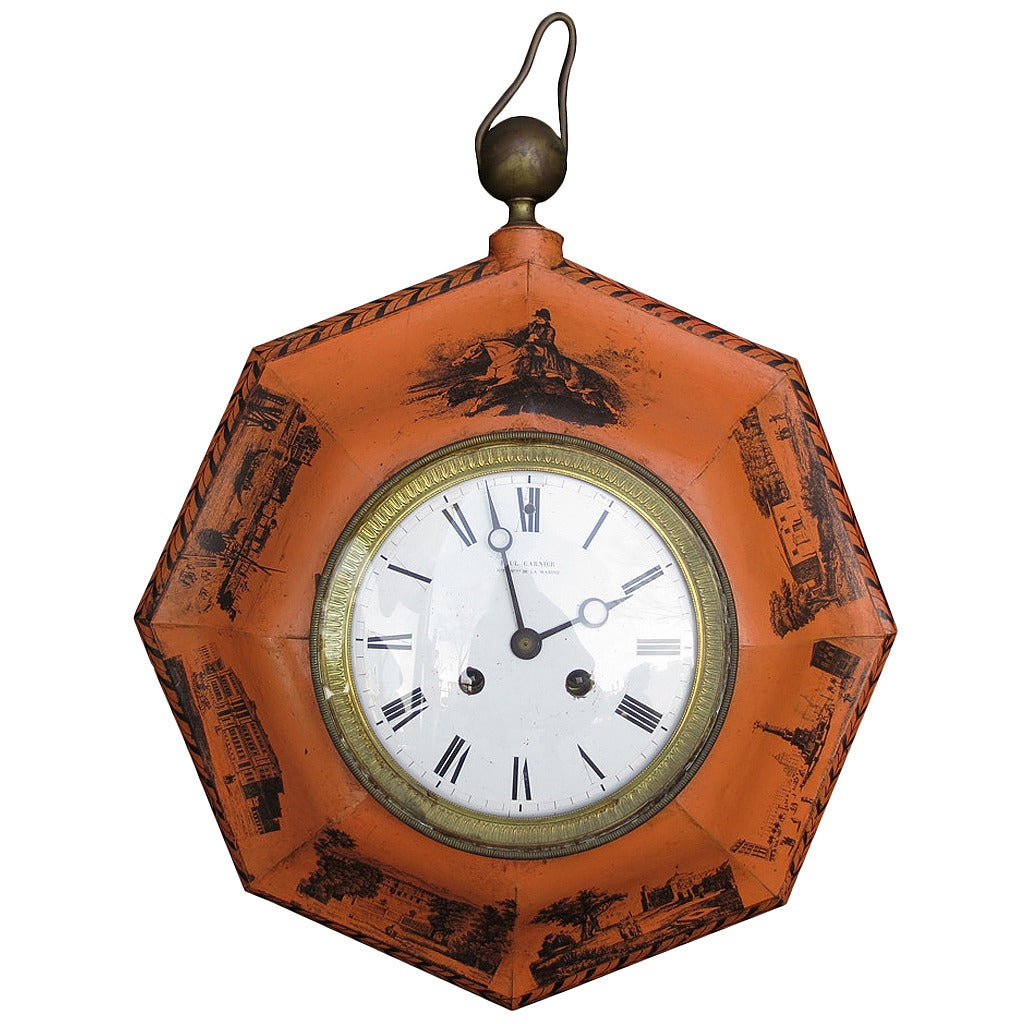 19th Century French Painted Tole Clock by Paul Garnier For Sale