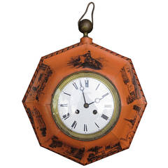 19th Century French Painted Tole Clock by Paul Garnier