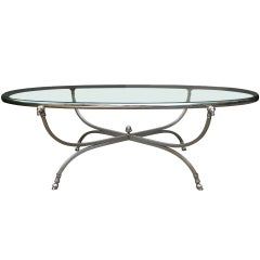 Midcentury Neoclassical Steel and Silver Plated Oval Coffee Table