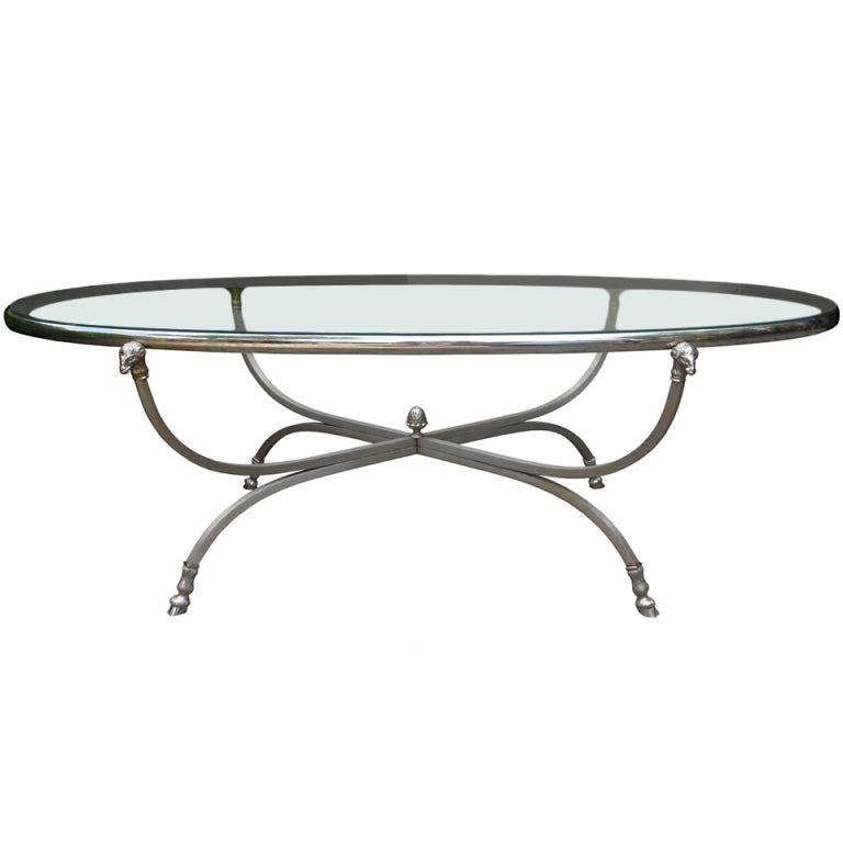 Silver Coffee Table Plate: Mid C Neoclassical Steel And Silver Plate Oval Coffee