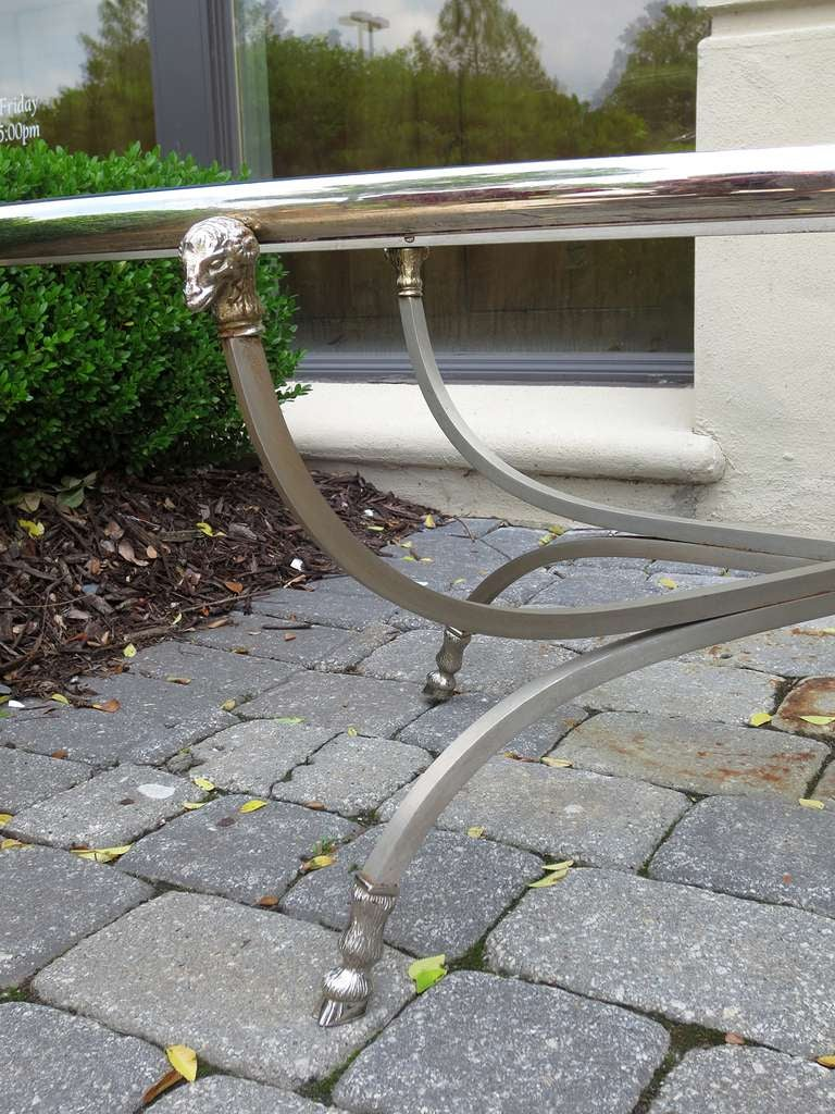 20th Century Midcentury Neoclassical Steel and Silver Plated Oval Coffee Table For Sale