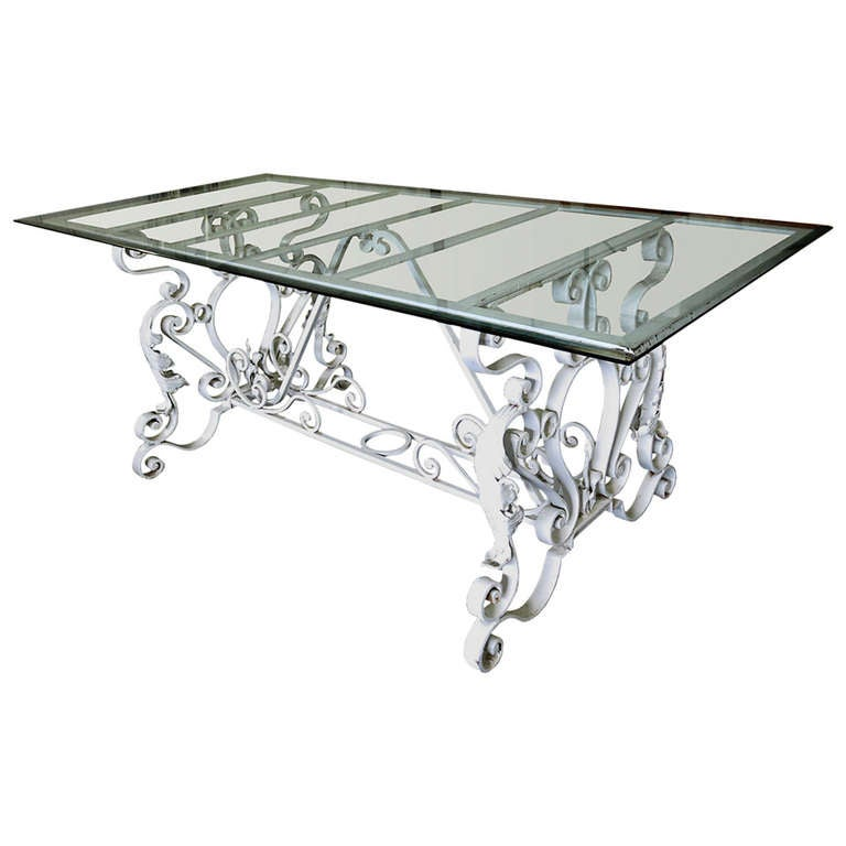 Early 20th Century Iron Based Dining Table with Glass Top