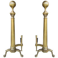 Pair of Early 20th Century Brass Andirons Ball Finial
