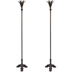 Pair of Early 20th Century Iron Floor Lamps with Bronze Finish