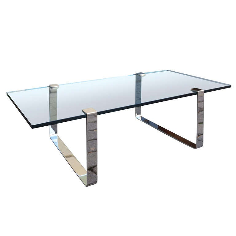 Mid C Silver And Glass Coffee Table In The Style Of Pace At 1stdibs