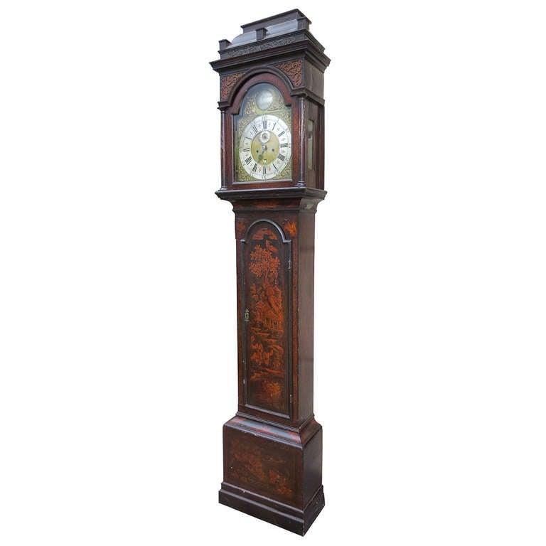 18th-19th Century English Chinoiserie Tall Case Clock