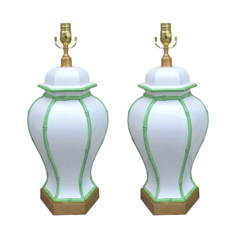 Pair of Mid-Century White Porcelain Lamps, Green Bamboo Detail