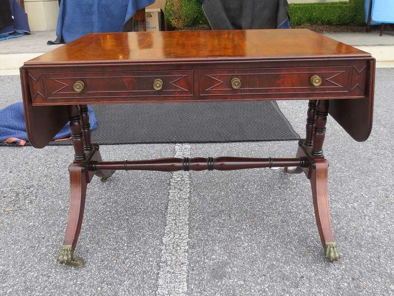 19th Century Regency Style Mahogany Sofa Table Two Drop Leaves Each 11
