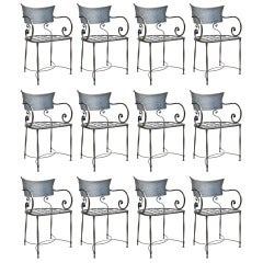 "1970's/80's Set of 12 Polished Steel Chairs, Stamped ""Made In Italy"""