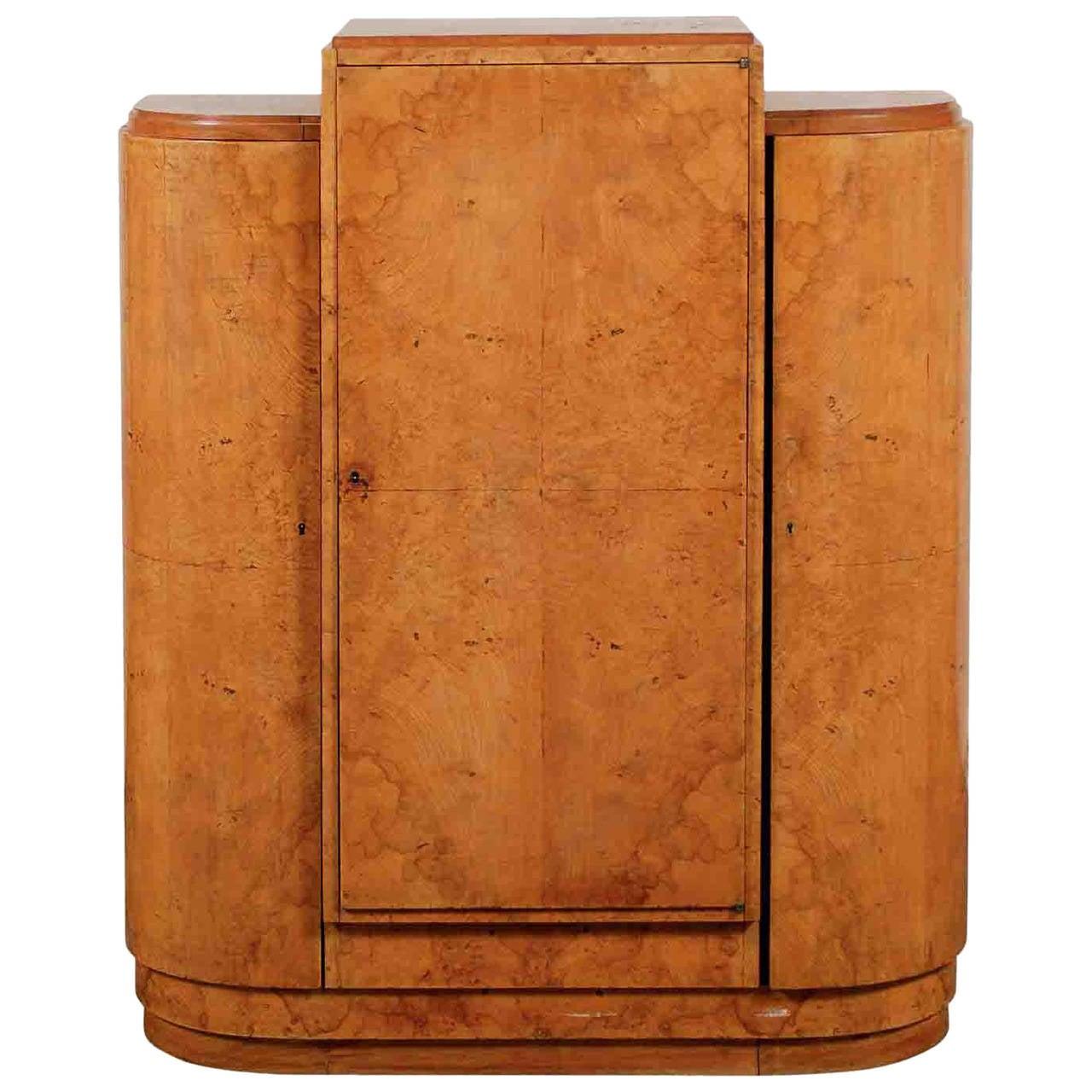 1930s Art Deco Burl Wood Cabinet For Sale
