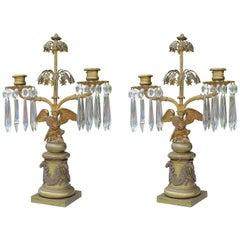 Pair of 19th Century Messenger-Phipson Regency Brass Eagle Girandole Candelabra