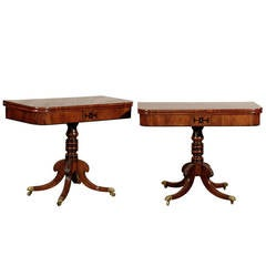 Pair of 19th Century William IV Figured Mahogany Game Tables