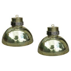 Pair of Midcentury Brass Pendants with Nickel Band