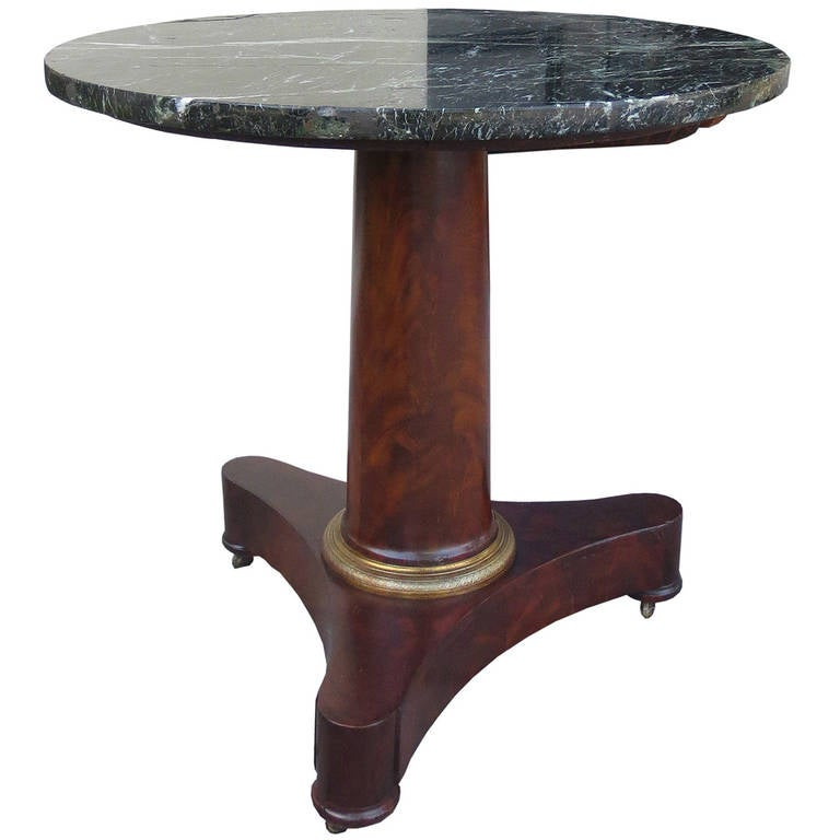 19th Century French Empire Table with Marble Top