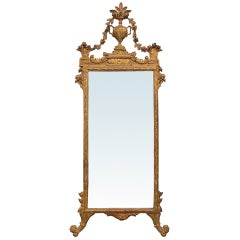 19th Century Italian Giltwood Mirror, Incredible Carved Urn with Floral Detail