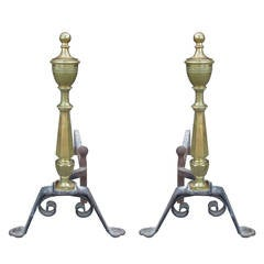 Late 19th Century or Early 20th Century Brass and Iron Andirons