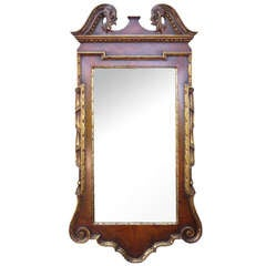 Early 20th Century Chippendale Style Walnut and Parcel Mirror