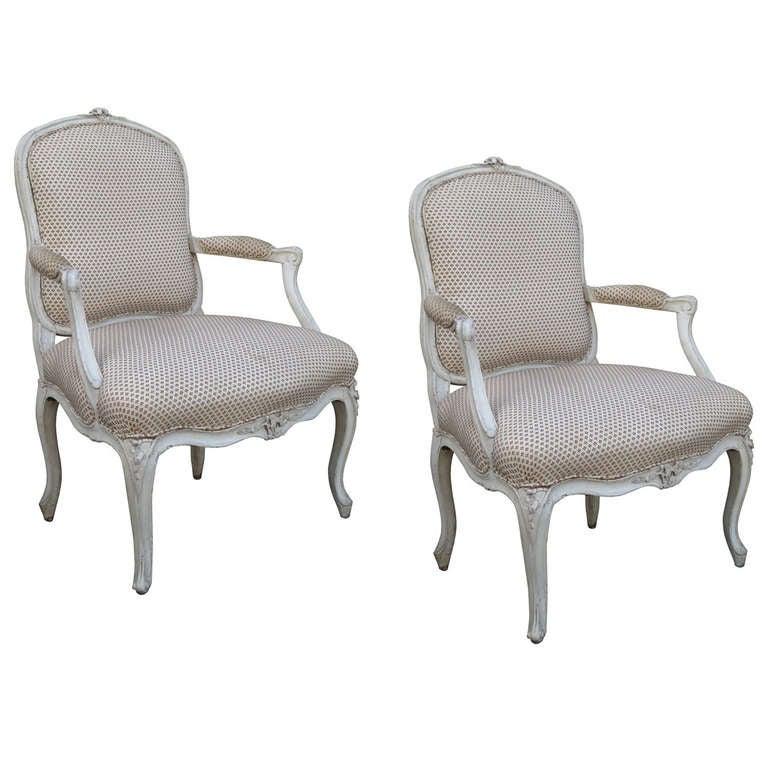 Pair of 19th century louis xv painted fauteuils a la reine at 1stdibs - Vintage lyon lounge ...