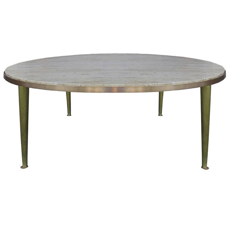 Mid Century Modern Walnut Travertine Coffee Table: Mid-Century Brass Travertine Coffee Table For Sale At 1stdibs
