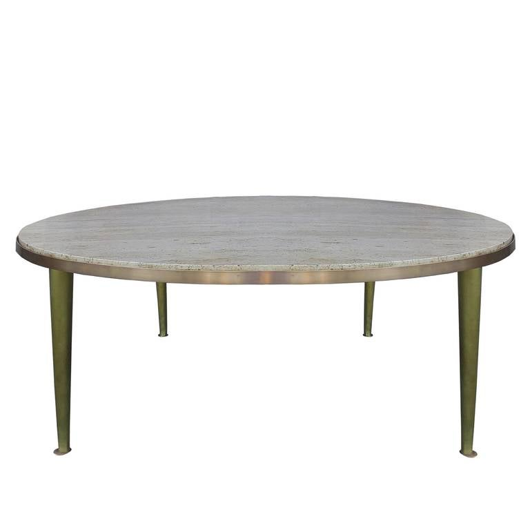 Mid-Century Brass Travertine Coffee Table For Sale At 1stdibs