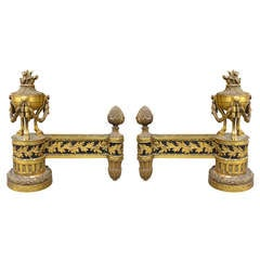 Pair of Late 19th or Early 20th Century Louis XVI Style Gilt Chenets