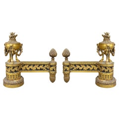 Pair of Late 19th/Early 20th Century Louis XVI Style Gilt Bronze Chenets