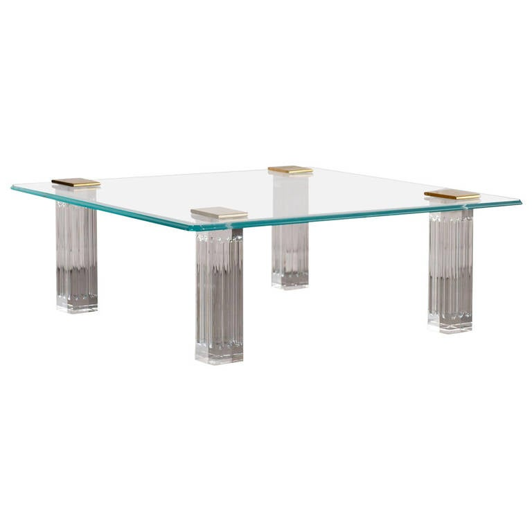 1970s Bronze, Lucite, and Glass Coffee Table