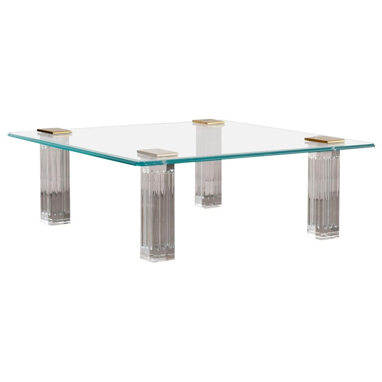 1970s Bronze, Lucite, and Glass Coffee Table For Sale