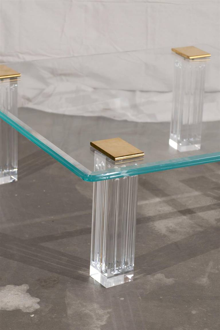 1970s Bronze, Lucite, and Glass Coffee Table In Good Condition For Sale In Atlanta, GA