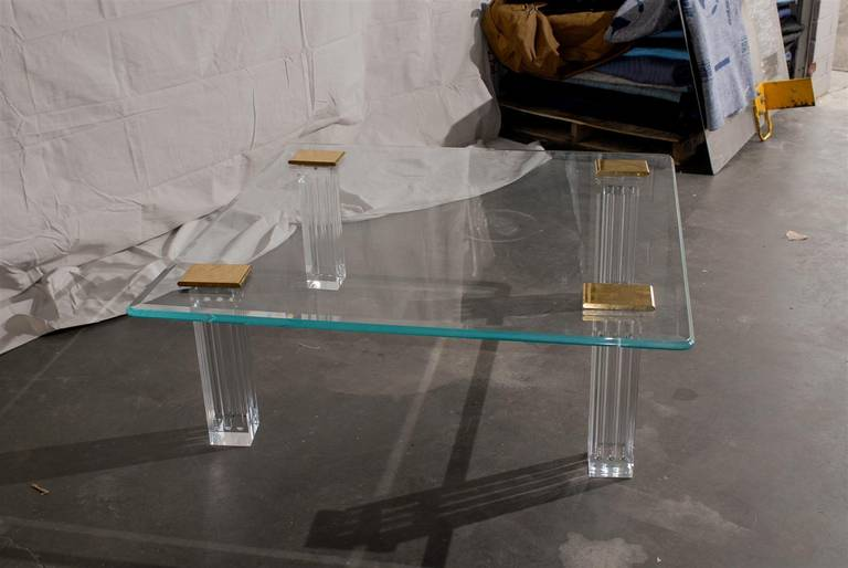 Late 20th Century 1970s Bronze, Lucite, and Glass Coffee Table For Sale