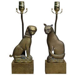 Pair Of Early 20thc Bronze Cat & Dog Andirons As Lamps