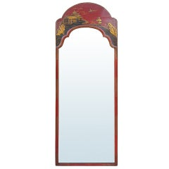 18th-19th Century English Red Chinoiserie Mirror