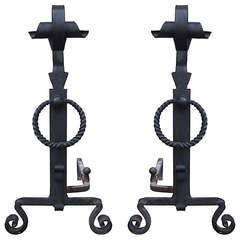 American Arts and Crafts Large Wrought Iron Andirons, circa 1900