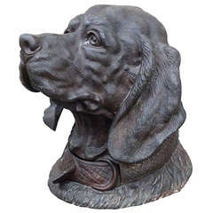 19th Century Large Patinated Metal Dog Inkwell